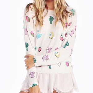 Wildfox Pixelated Emojis Lightweight Sweater M